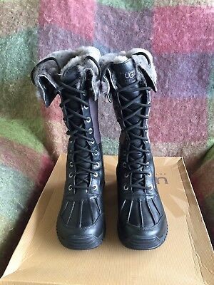 UGG WOMEN'S ADIRONDACK BLACK WATERPROOF GENUINE SHEEPSKIN TALL BOOTS SIZE 5.5, used for sale  Agoura Hills