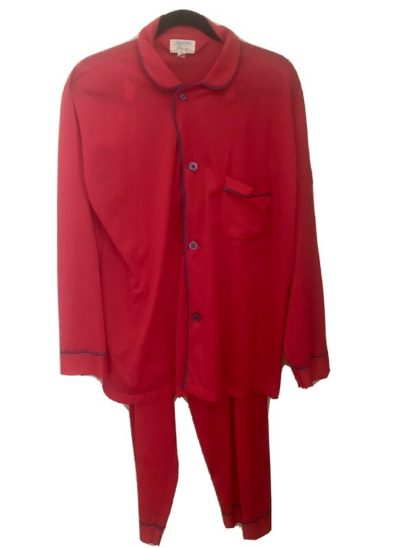 Vintage 70s Mens Silky Red Nylon Pajamas M Manhattan Skyway Unisex