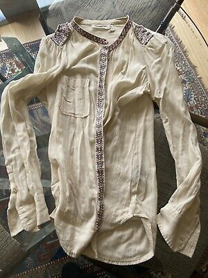 Isabel Marant Etoile Embroidered Cream Viscose/Cotton Blouse Button Down 36/Sml