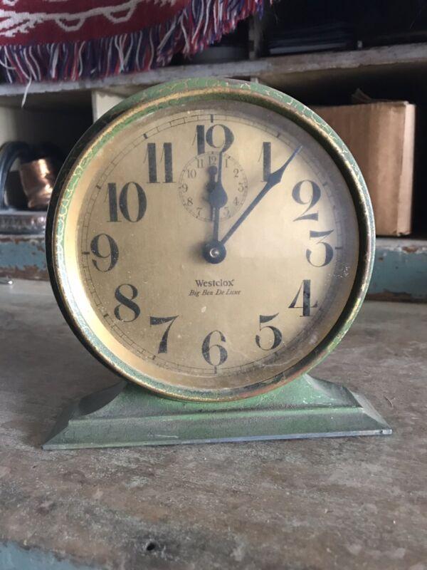 Westclox Alarm Clock Art Deco Metal Shelf Original Green Antique De Luxe Big Ben