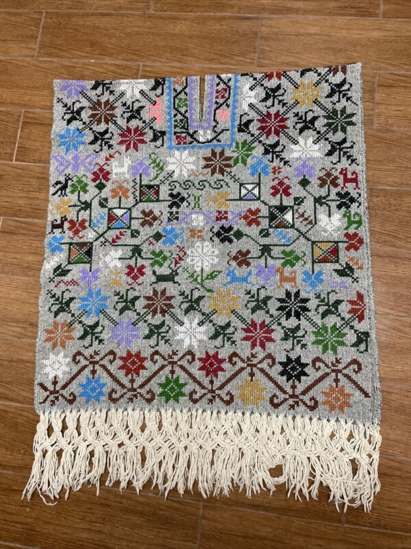 Hand Stitched Gabán Mexican Poncho Vintage Wool Cape Blanket Beautiful Colors