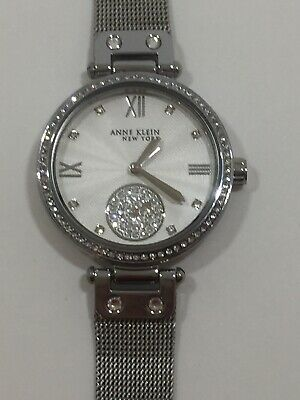 NEW Anne Klein New York Silver-Tone Mesh Ladies Watch w/ Swarovski Crystals