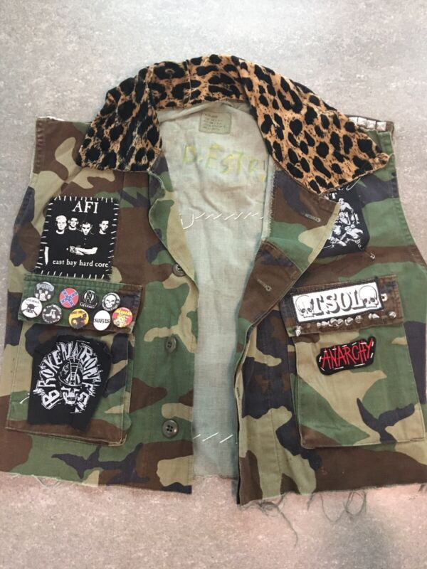 Punk Vest Patches Camo Pins Studs Medium Cut Modified Costume