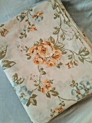 Vintage Pequot Full Size Flat Sheet Small Coral Rose Floral 82x96  - Coral Flat Sheet