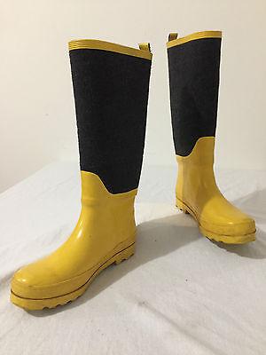 J.CREW Wellies Rain Snow Boots Yellow Rubber & Gray Felt Size 8