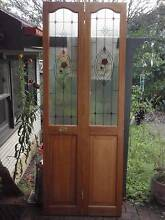 Timber bi fold door with textured glass rose jewel panels Warrimoo Blue Mountains Preview