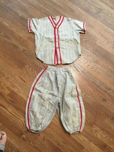 Vintage Washington Senators Baseball Uniform Boys Youth Kids Gray Striped