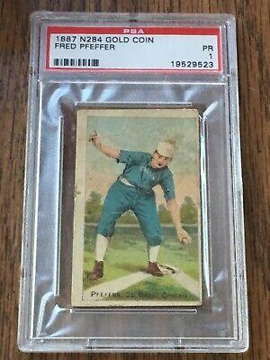 1887 N284 GOLD COIN Fred Pfeffer Graded PSA 1 Chicago 2nd Base --Good Color