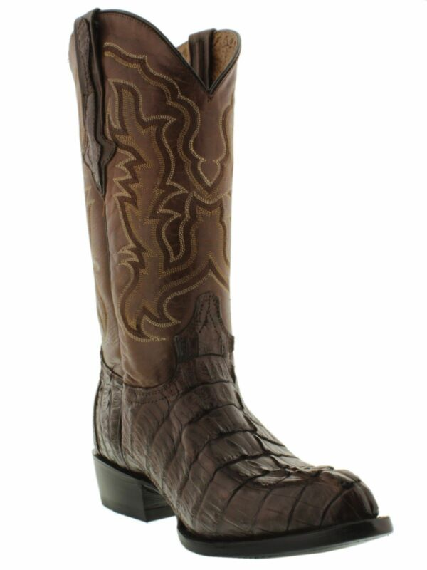 Mens, Brown, Genuine, Crocodile, Skin, Western, Leather, Cowboy, Boots, Tail, Cut, J, Toe