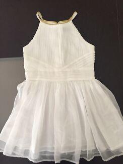Bardot white dress with gold neck trim -  Size 3 (small make)