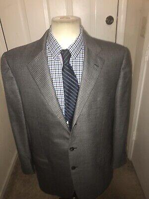 Ermenegildo Zegna Napoli Couture Xxx Gray Check Pure Cashmere Blazer 44R 3/2Roll