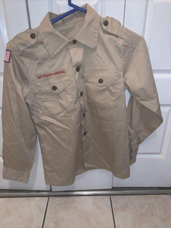 Boy Scout BSA UNIFORM SHIRT Youth Medium Long Sleeve Tan L60