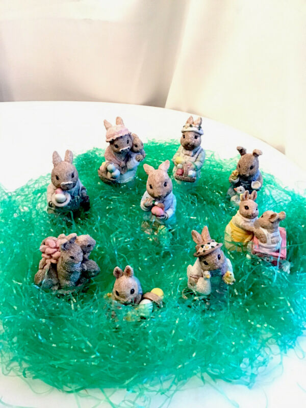 Vintage United Design Easter Bunny Family - Resin - 9 Pieces- 1987 And 1988
