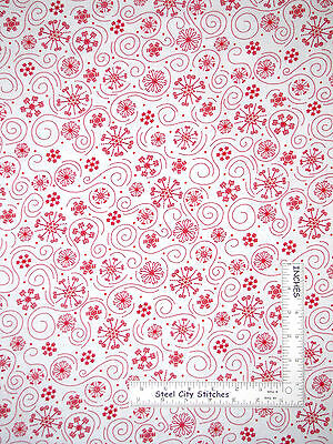 Christmas Red Snowflakes on White Cotton Fabric QT 23816 Holly Jollies - Yard - Red Snowflakes
