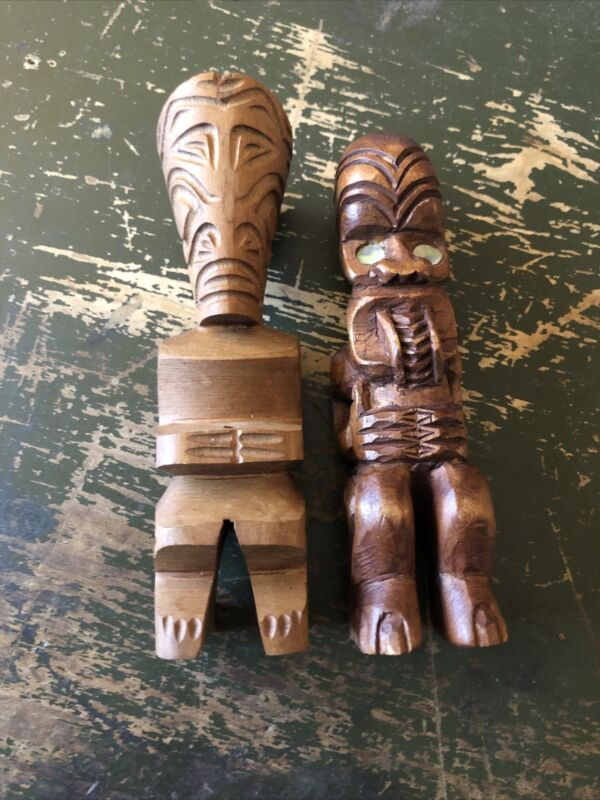Vintage Small Carved and Pressed Wood Statues Ethnic