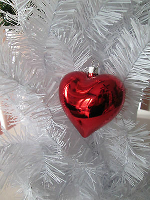 """Box of 8 pc. 2.75"""" Shiny Red Heart Valentines Day Ornaments, New"""