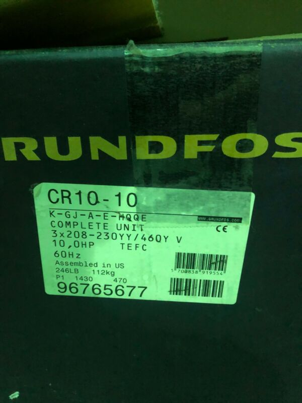 Grundfoss CR10-10 Vertical Boiler Feed Pump 10Hp 60Hz Model 96765677