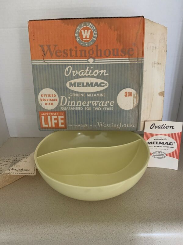 Vintage Westinghouse Ovation Melmac Genuine Melamine Divide Vegtable Dish W Box