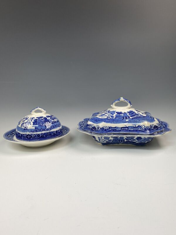 Buffalo Pottery BLUE WILLOW Covered Butter and Rectangle Vegetable VERY GOOD