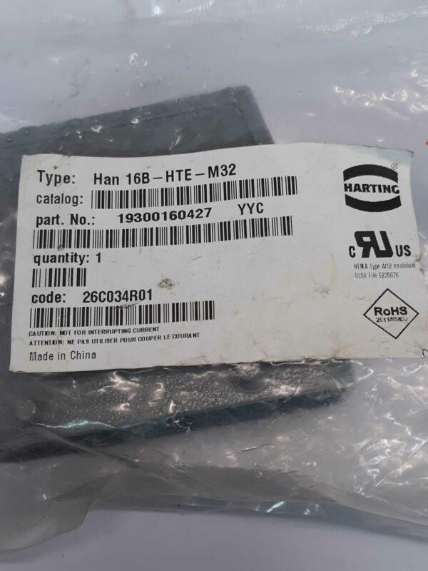 Harting 19300160427  HAN 16B-HTE-M32 Hood Top Entry Connector
