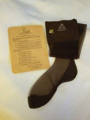 Vtg UNWORN Brown Dexdale Nylon Stockings Seam Cuban Heel 10M 54 Gauge 15 Denier