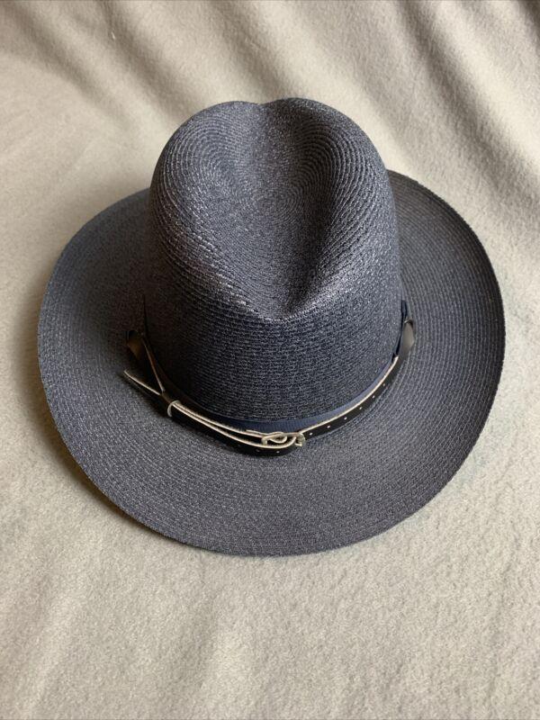 The Lawman Genuine Milan Police State Trooper Sheriff Hat Size 7-1/8 w/ STRAP