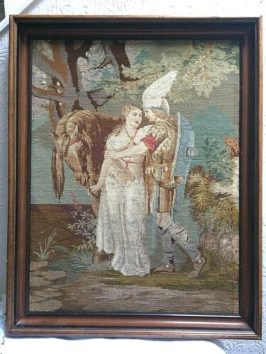 Most Beautiful Antique Knight in Shining Armor Needlepoint PetitPoint Ever!