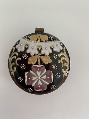 Antique Bohemian Cranberry Art Glass Enameled Small Pill Patch Trinket Box