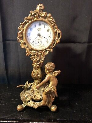 "Early Waterbury Cherub Ornate Victorian Brass Mantle Clock - 7 1/4"" - Final Sale"