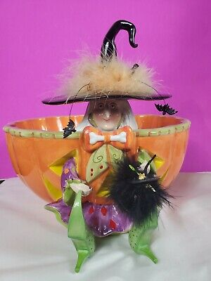 Rare RETIRED Dept 56 Krinkles Patience Brewster Witch Candy Bowl Large