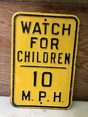 Rare Vintage Watch For Children Raised Embossed Metal Steel Street Sign 10 MPH
