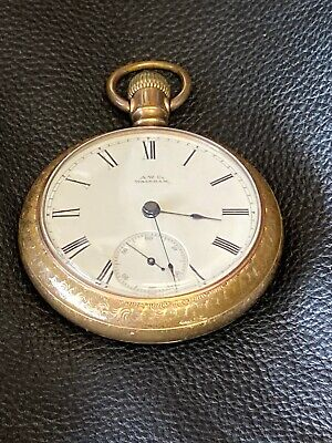 Antique A.W. Waltham Co Pocket Watch-Winds & Works Intermittently