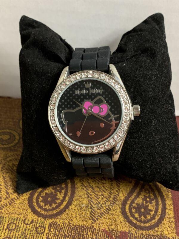 New Hello Kitty Sanrio Watch Black Band Rhinestones Black Dial