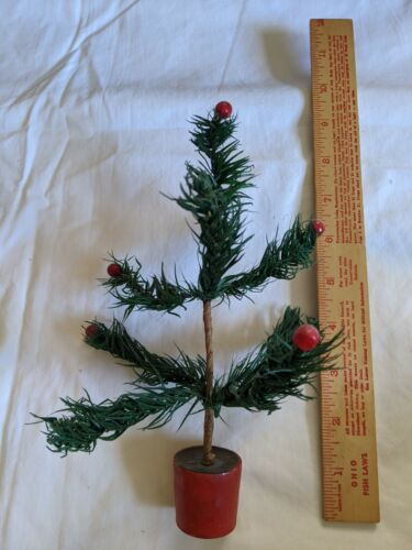 Vintage German Feather Tree Green with Red Base about 8 in. Tall
