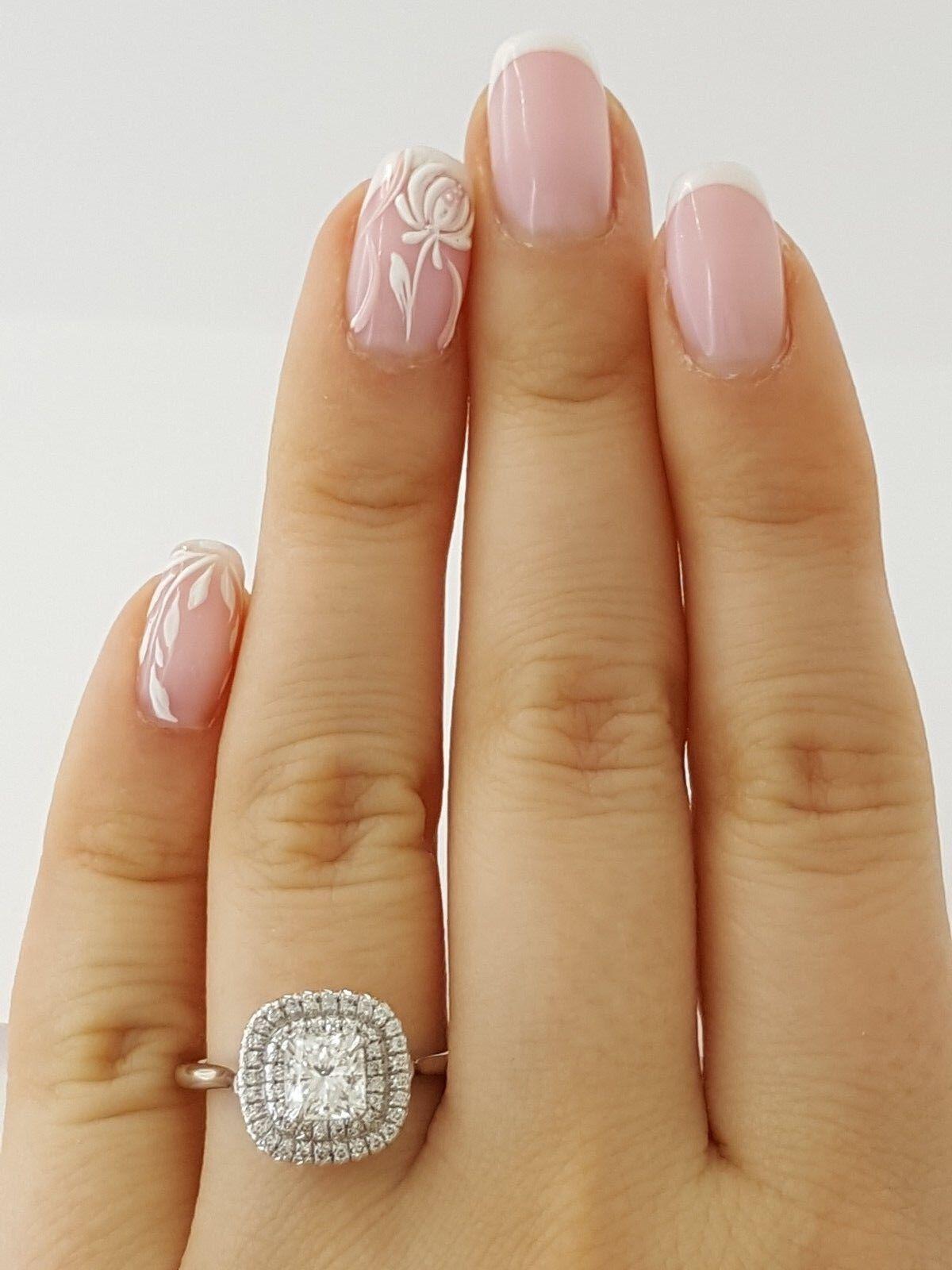 0.97 ct 18K White Gold Cushion Cut Diamond Double Halo Engagement Ring GIA E/VS1 1