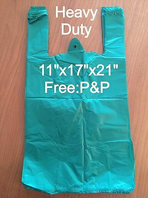 3400x HEAVY DUTY GREEN VEST CARRIER BAGS 11