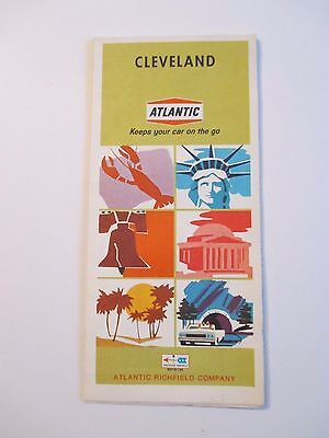 Vintage 1968 ATLANTIC CLEVELAND OHIO Gas Service Station CITY Road Map