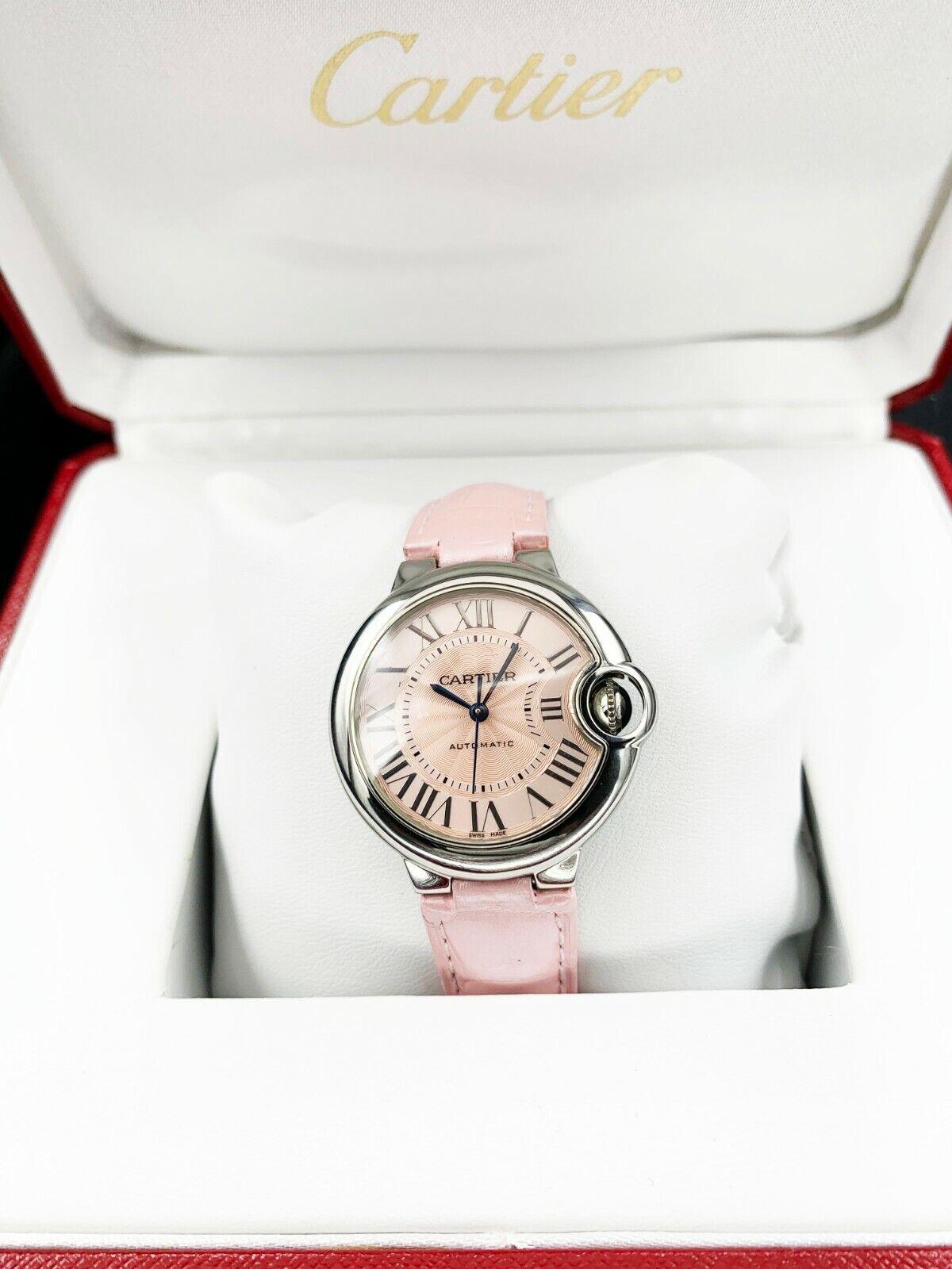 Cartier WSBB0002 Ballon Bleu 33mm Pink Leather Steel Automatic Women's Watch