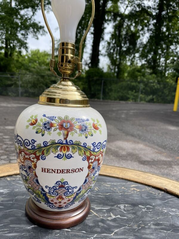 """Delft Tobacco Jar Lamp Henderson, NC, Nevada 15"""" Multicolor"""