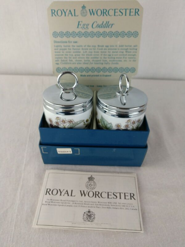 Royal Worcester 2 Lavinia Standard Porcelain Egg Coddlers With Box Instructions