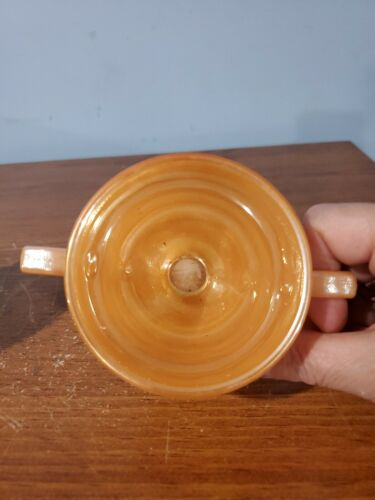 FIRE KING Peach Orange Luster CREAMER SUGAR BOWL no Lid , LEAVES WHEAT, VTG - $12.00