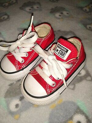 CONVERSE All Star Ox Red White Infant Toddler Baby Sz 3 Lace Up Chuck Taylor EUC