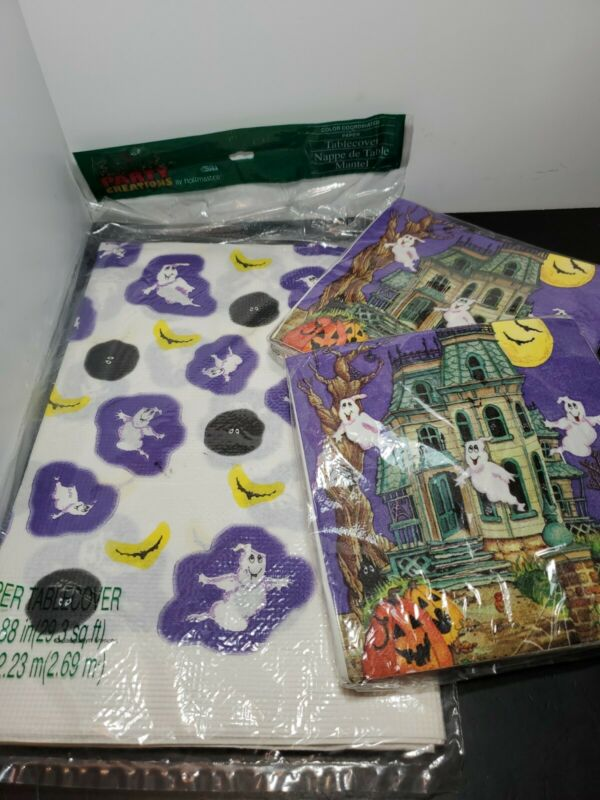 Vintage 1980's Halloween Tablecloth & Napkins Party Creations  New in Package