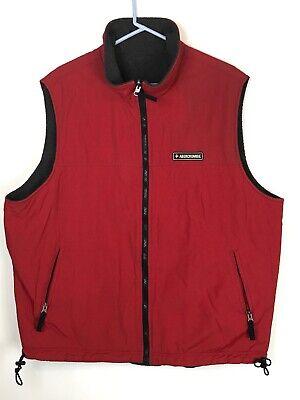Abercrombie XL Mountain Fleece Reversible Men Grey Red Nylon Sleeveless Zip Vest