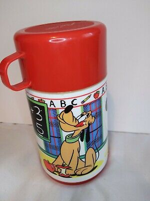 Vintage Aladdin Disney Thermos: Mickey, Minnie, Pluto, School House Red Cap