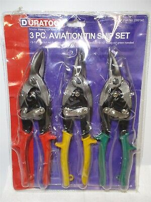 Duratool (D00140) 3-Piece Aviation Tin Snip Set w/ L, R, & Straight Curve Snips (3 Piece Tin Snip)