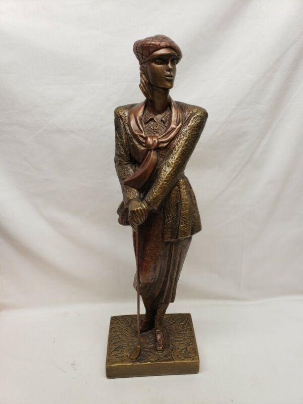 "Vintage Austin Sculpture Birdie Lady Golfer Women Golfing 16"" Tall pre-owned"