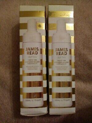 2 x JAMES READ Self Tan - 1 Hour Tan Bronzing Mousse - MEDIUM/DARK - NEW (Tatty)