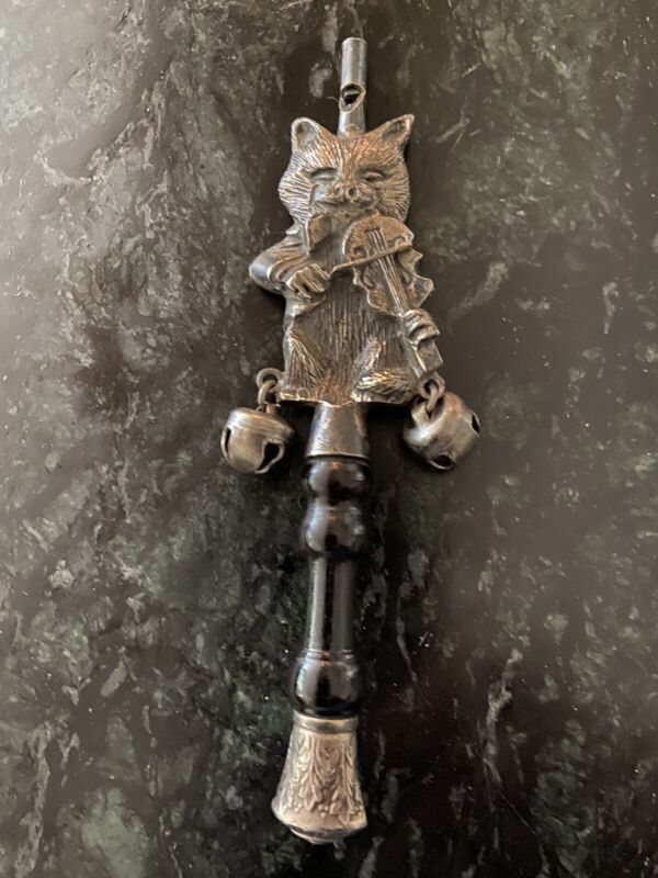 Antique Victorian Silver/Pewter? Baby Rattle Teether Whistle, Bells, Wood Handle