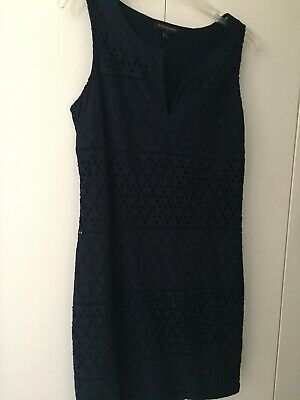 Banana Republic Navy Cotton Eyelet Dress Size 8